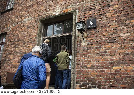 Polish Or Pole People And Foreign Traveler Group Tour Travel Visit Learn Historic At Auschwitz Nazi