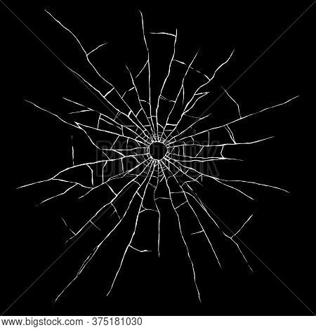 Bullet Hole In Glass Isolated On Black Background. Cracked Mirror Texture. Vector Illustration.