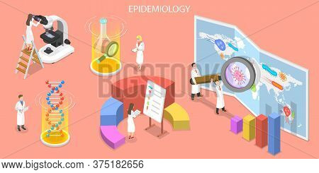 3d Isometric Flat Vector Concept Of Epidemiology.