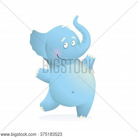 Cheerful Jumping Baby Blue Elephant Character For Kids. Cute Happy Elephant Animal Adorable Drawing