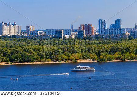 Tourist Ship Sailing On The Dnieper River In Kiev, Ukraine
