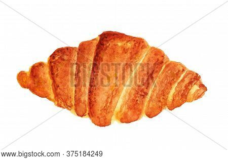Fresh Tasty Croissant. Watercolor Image Isolated On White Background. Good Design Element For Menu O