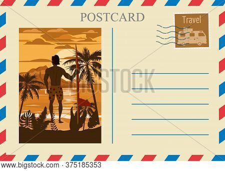 Postacrd Summer Vintage Surfer Beach Ocean. Vacation Travel Design Card With Postage Stamp. Vector I