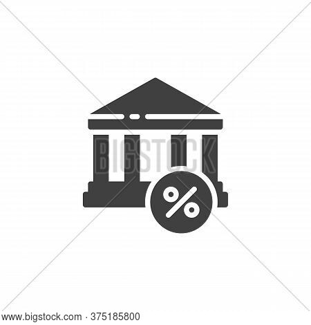 Loan, Interest, Mortgage Vector Icon. Filled Flat Sign For Mobile Concept And Web Design. Bank Build