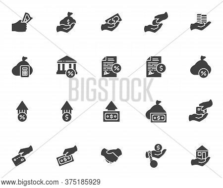 Credit And Loan Vector Icons Set, Modern Solid Symbol Collection, Filled Style Pictogram Pack. Signs