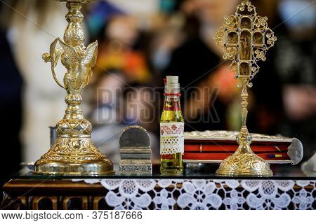 Bucharest, Romania - May 24, 2020: Details With Accessories In An Orthodox Church Needed For An Orth