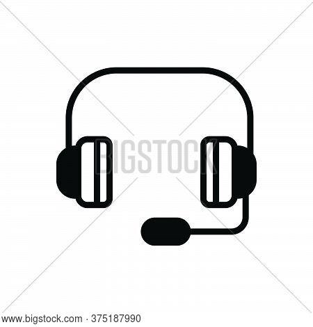 Black Solid Icon For Headphones Service Operator Maintenance Listen Headphones