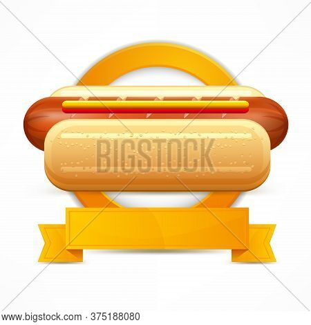 Hotdog Stylized Circle Logo Isolated On White. Vector Illustration.