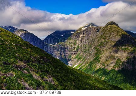 Tourism Vacation And Travel. Mountains Landscape At Summer, Norway Scandinavia.