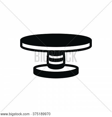 Black Solid Icon For Table Round Furniture Interior Contemporary Dining-table Wood