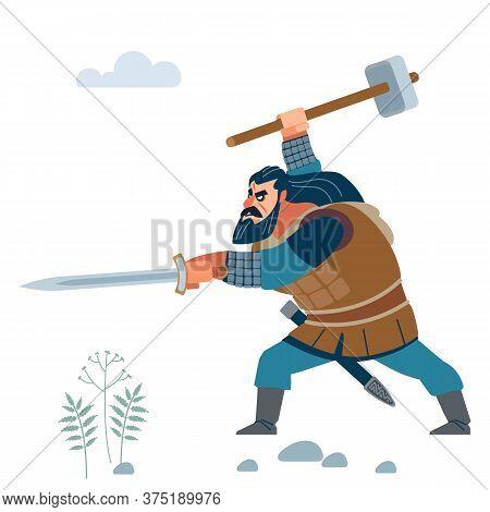 Viking. Dark Strong Viking. Medieval Warrior From Scandinavian In Battle. Vector Flat Cartoon Illust