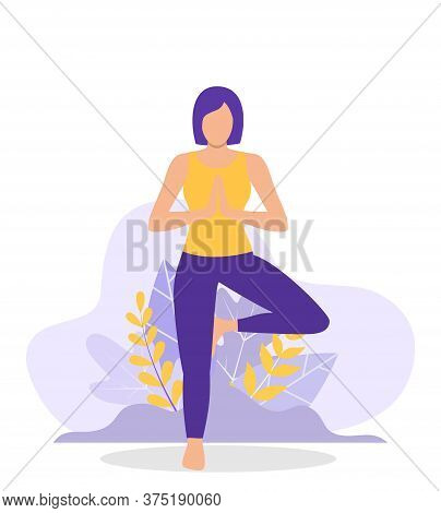 Young Woman Woman Doing Yoga Workout. Concept Of Meditation, The Health Benefits For The Body, Mind