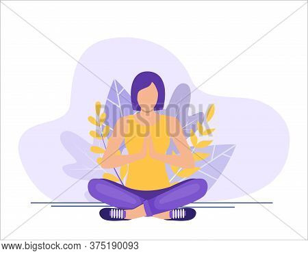 Young Woman Sitting In Yoga Lotus Pose. Concept Of Meditation, The Health Benefits For The Body, Min