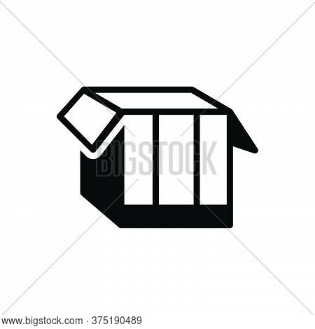 Black Solid Icon For Box Pack  Packing Parcel Shipping Store Open