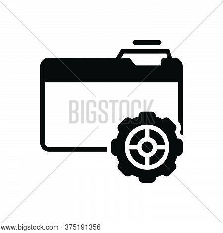 Black Solid Icon For Setup Provision Setup Organisation Data File Folder