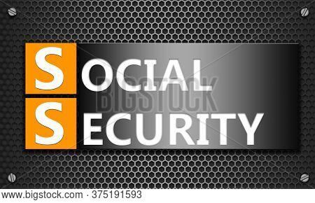 Social Security Concept On Mesh Hexagon Background, 3d Rendering