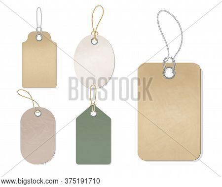 Blank Gift Box Tags Or Sale Shopping Labels With Rope. . Vintage Craft Organic White And Brown Price