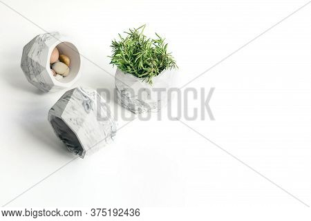 Hand Made Craft Flower Pots In Geometry Style Made Of Gypsum, White And Grey Colored Marble Stylized