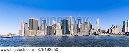 Panorama view of New York city Lower Manhattan skyscraper skyline building cityscape from Brooklyn