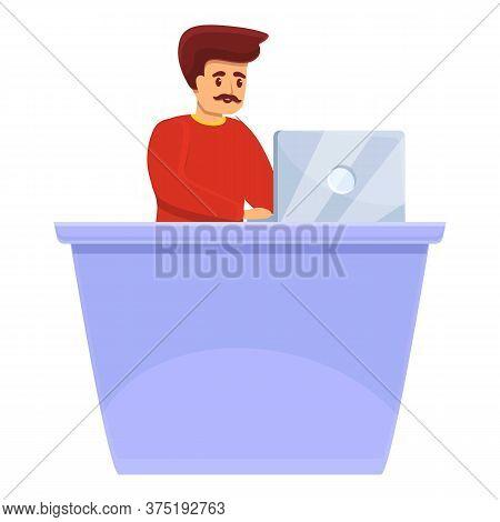 Art Director At Desktop Icon. Cartoon Of Art Director At Desktop Vector Icon For Web Design Isolated