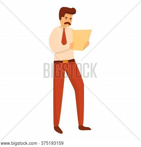 Office Investigator Icon. Cartoon Of Office Investigator Vector Icon For Web Design Isolated On Whit