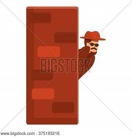 Investigator Hidden Near Wall Icon. Cartoon Of Investigator Hidden Near Wall Vector Icon For Web Des