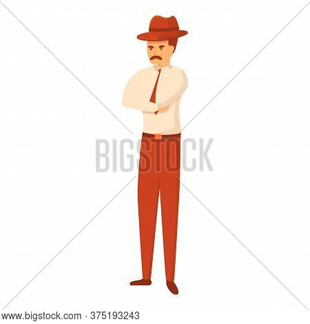 Serious Investigator Icon. Cartoon Of Serious Investigator Vector Icon For Web Design Isolated On Wh