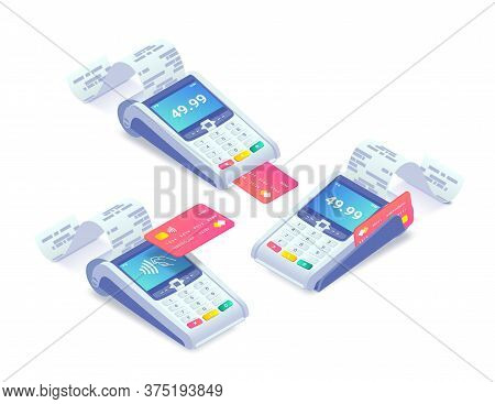Cashless Payment Via Credit Card Isometric Concept Set. 3d Payment Machine Printing Check With Plast