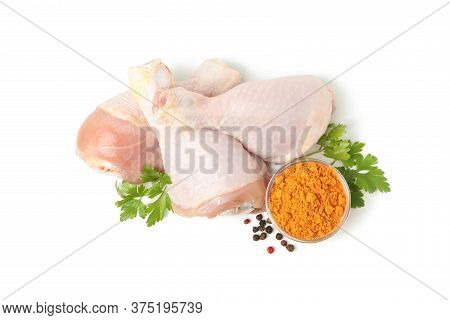 Raw Chicken Meat And Spices Isolated On White Background