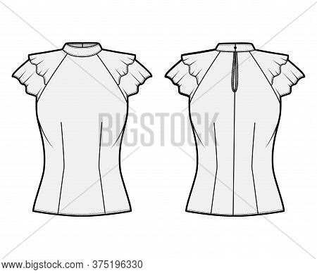 Blouse Technical Fashion Illustration With High Neckline Banded Collar, Fluttery Ruffles Short Sleev