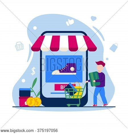 E Commerce Illustration - Online Shop Concept In Flat Design - People Shopping With Trolly