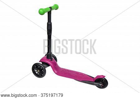 Children's Scooter Isolated On White With Clipping Path. The Child Scooters Isolated Over White Back