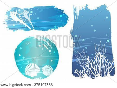 Set Of Undersea Vector Background Illustrations With Shellfishes And Corals Isolated On A White Back