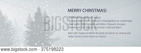 Winter Banner With Snowfall In The Forest And Text, Fir Trees In Winter In Snowfall, Christmas Winte