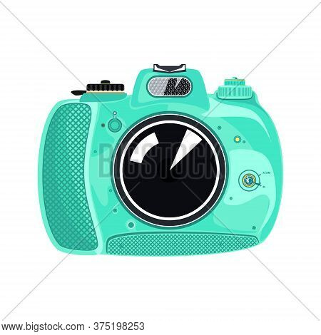 Mint Beautiful Cute Instant Print Camera , Manual Camera Isolated On White Background, Vector Illust