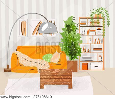 Interior Of The Living Room. Vector Flat Illustration With Design Of A Cozy Room With Sofa, Table, S