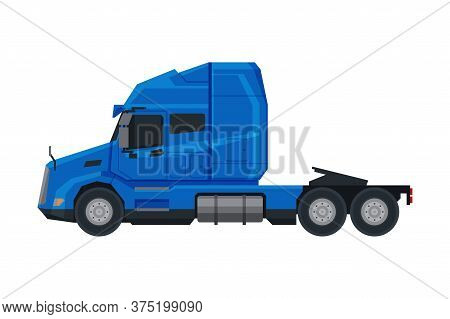 Blue Semi Truck, Side View Of Cargo Modern Delivery Cargo Vehicle Flat Vector Illustration On White