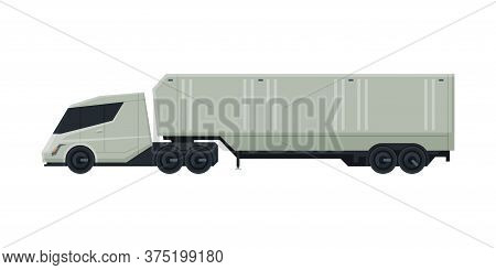 Cargo Trailer Truck, Delivery And Shipping Modern Cargo Vehicle, Side View Flat Vector Illustration