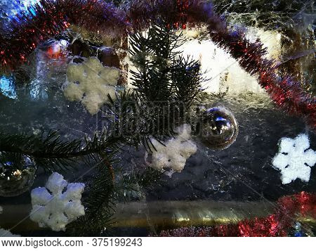 Christmas Tree Texture With The White Snow