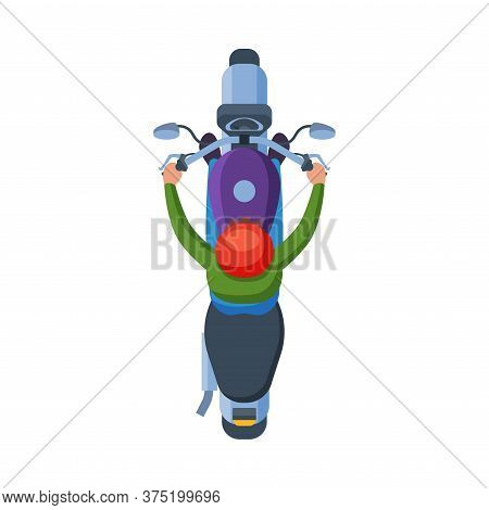 Man In Helmet Riding Motorcycle, View From Above, Motorcyclist On Motorbike Flat Vector Illustration