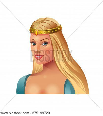 Princess Blonde In A Crown On A White Background. Beautiful Sexy Young Girl With Long Hair. Female C