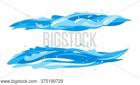 Blue Water Horizontal Waves In Side View Isolated, Group Of Twoo Cartoon Ocean Waves, Clipart Compos