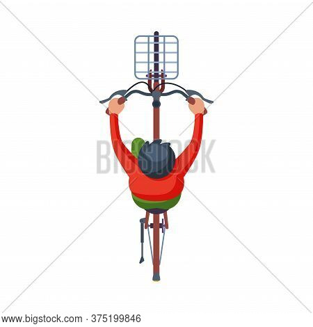 Man Riding Bike With Basket, View From Above, Cyclist Character On Bicycle, Eco Healthy Lifestyle Fl