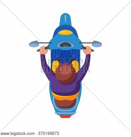 Man Riding Scooter, View From Above Flat Vector Illustration