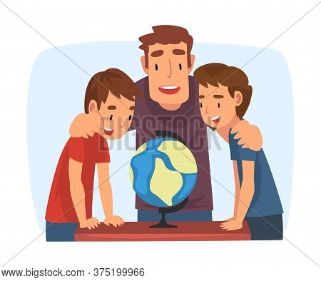 Father Teaching His Sons, Parent Helping Sons And Explaining Geography Lesson With Globe Cartoon Vec