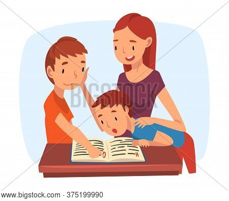 Mother Teaching Her Sons, Parent Helping Sons With Homework And Explaining Lesson In Textbook, Homes