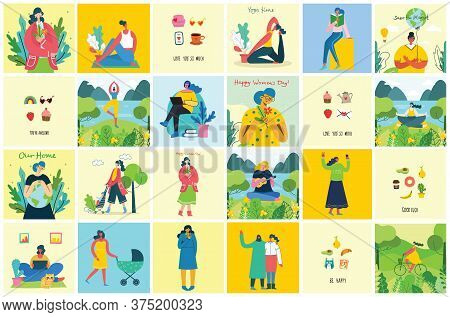 Concept Of Women Unique Background. Stylish Vector Illustration Card With Happy Female Woman And Han