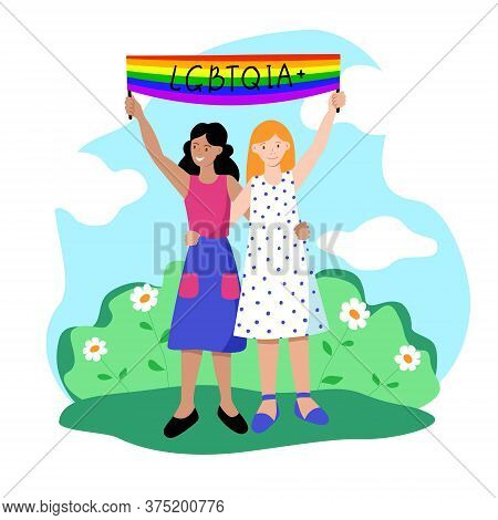 A Pair Of Lesbians In Summer Dresses Are Hugging And Holding A Banner With The Inscription Lgbtqia.