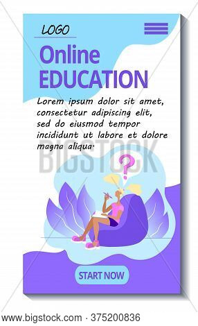 Template For The Mobile Version Of The Online Education Site. E-learning Mobile Application. Student
