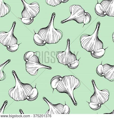 Seamless Pattern Of Garlic On A Soft Green Background.garlic Pattern. Garlic Head Drawn Vector Illus
